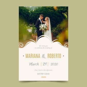 Modello della partecipazione di nozze con la foto