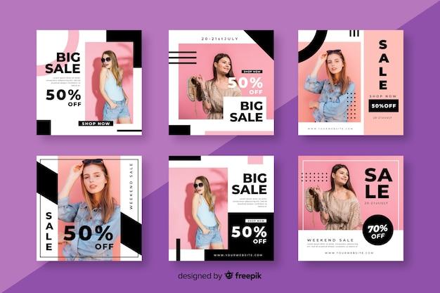 Modello della raccolta della posta di vendita di instagram con la foto