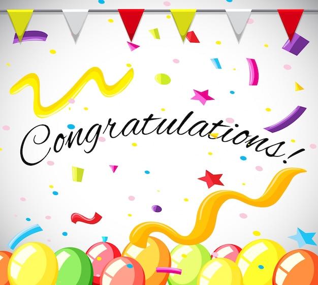 Modello della scheda di congratulazione con palloncini colorati