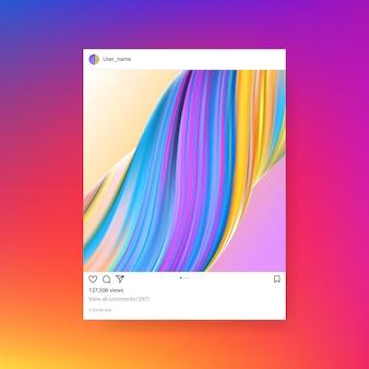Modello della struttura della foto di instagram con il fondo creativo dell'illustrazione di pendenza.