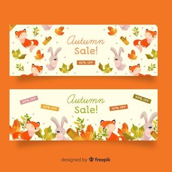 Modello delle bandiere di vendita di autunno dell'acquerello