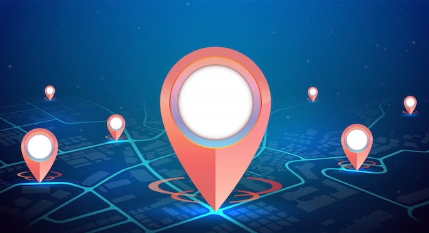 Modello delle icone di gps su colore blu della mappa della città