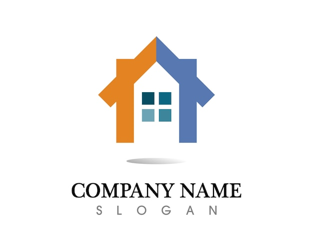 Modello delle icone di logo di costruzioni immobiliari e casa