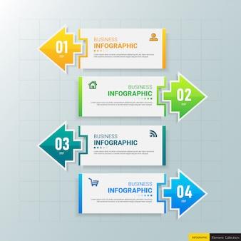 Modello di 4 passaggi di infografica creativa