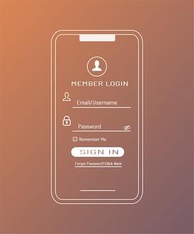 Modello di accesso membro in smartphone