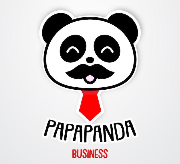 Modello di adesivo papà panda carino e divertente