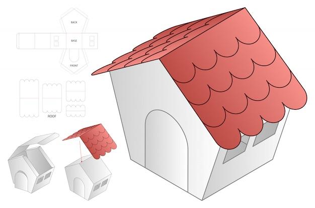Modello di aecut di imballaggio sacchetto di carta forma di casa