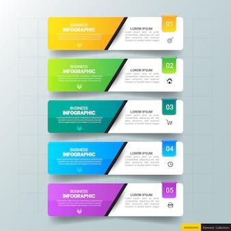 Modello di affari infografica con cinque passaggi