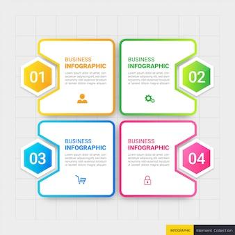 Modello di affari infografica con quattro passaggi