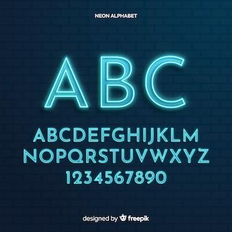 Modello di alfabeto al neon