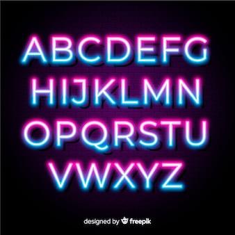Modello di alfabeto bicolore al neon