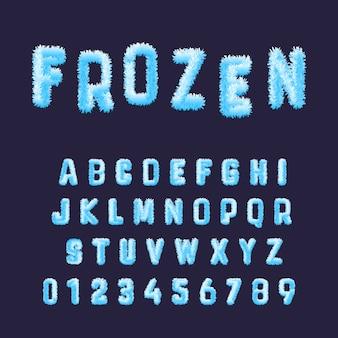 Modello di alfabeto di carattere congelato. set di numeri e lettere di brina bianca blu.