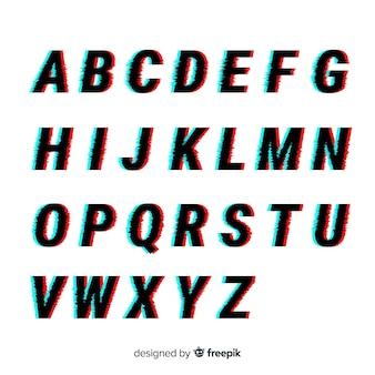 Modello di alfabeto glitch