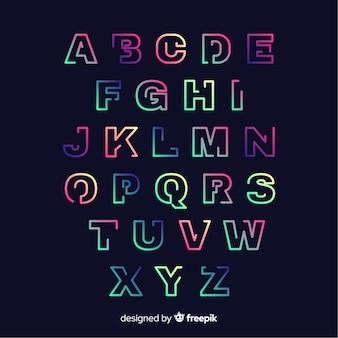 Modello di alfabeto gradiente colorato