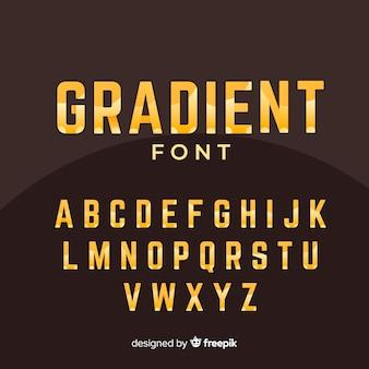 Modello di alfabeto gradiente d'oro