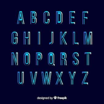 Modello di alfabeto gradiente monocromatico