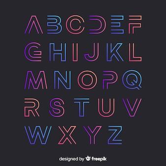 Modello di alfabeto gradiente
