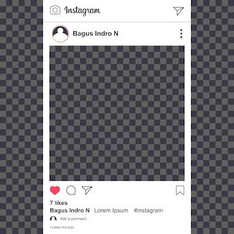 Modello di alimentazione instagram con fondo trasparente
