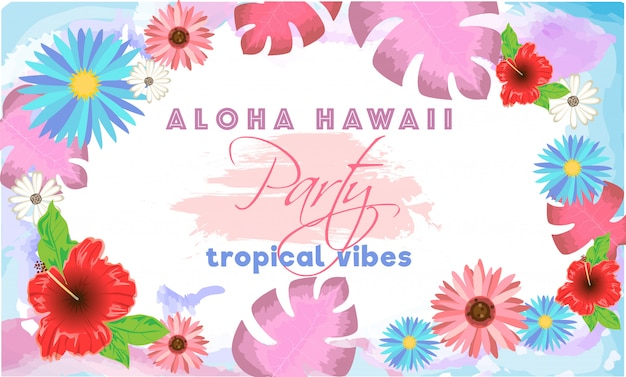 Modello di aloha hawaii party