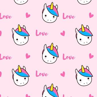 Modello di amore unicorno con cuori