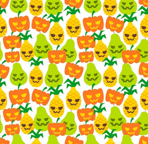 Modello di ananas di frutta halloween senza soluzione di continuità