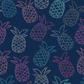 Modello di ananas tropicale colorato senza soluzione di continuità per l'estate.