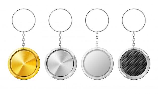 Modello di anello portachiavi 3d realistica isolato cerchio in acciaio.
