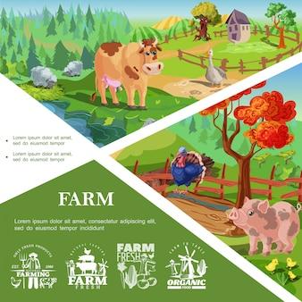 Modello di animali da allevamento del fumetto con i polli dell'oca di mucca di tacchino del maiale sveglio bei paesaggi della natura e della campagna e le etichette di agricoltura