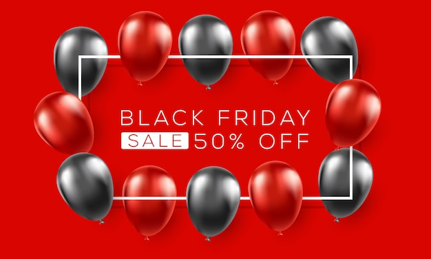 Modello di annunci banner nero venerdì con palloncini