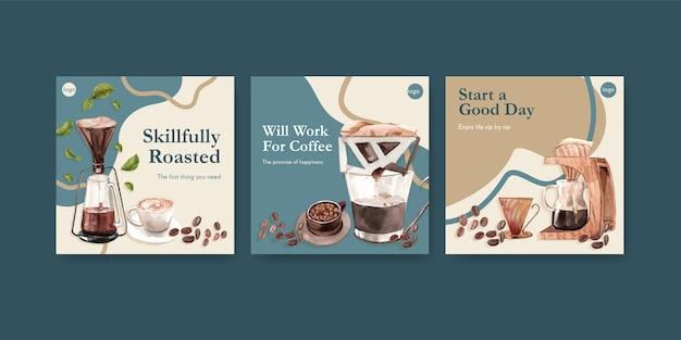 Modello di annunci con concept design della giornata internazionale del caffè per pubblicità e marketing ad acquerello