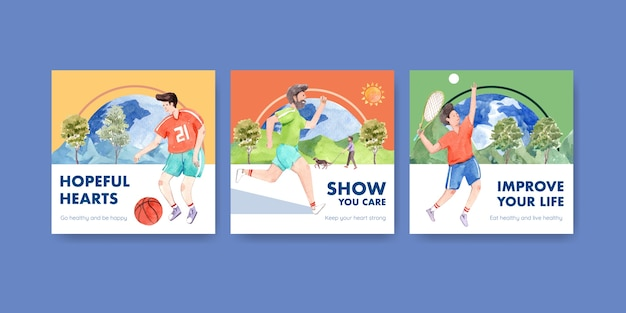 Modello di annunci con concept design della giornata mondiale della salute mentale per pubblicità e marketing acquerello