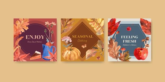 Modello di annunci con concept design giornaliero autunno per la pubblicità e la commercializzazione dell'acquerello