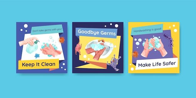 Modello di annunci con concept design globale del giorno del lavaggio delle mani per pubblicità e acquerello di volantini