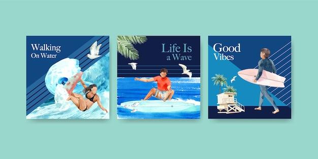Modello di annunci con tavole da surf in spiaggia design per pubblicità e marketing illustrazione vettoriale dell'acquerello