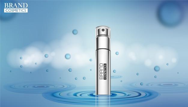 Modello di annunci cosmetici. modello cosmetico su sfondo di acqua.