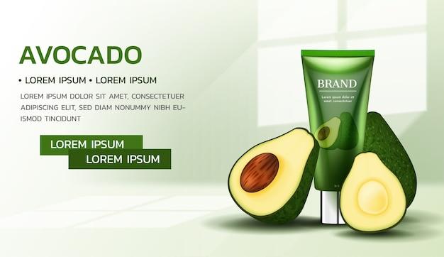 Modello di annunci di crema essenziale di avocado