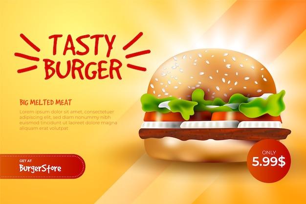 Modello di annuncio alimentare per hamburger
