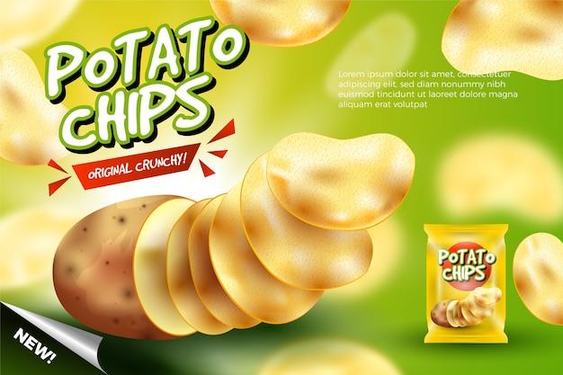 Modello di annuncio alimentare per patatine fritte