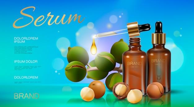 Modello di annuncio cosmetico olio di noce di macadamia realistico 3d.