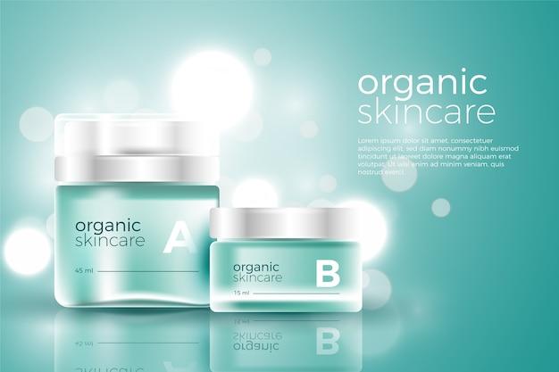 Modello di annuncio cosmetico per la crema per il viso