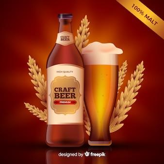 Modello di annuncio di birra realistico