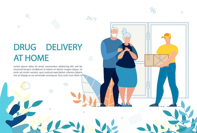 Modello di annuncio di servizio di consegna di farmaci a domicilio