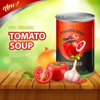 Modello di annuncio di tomato soup packshot