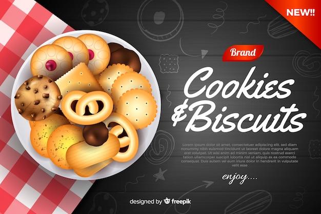Modello di annuncio per biscotti con scarabocchi