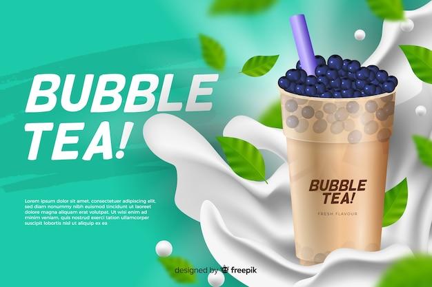 Modello di annuncio per il tè di bolle