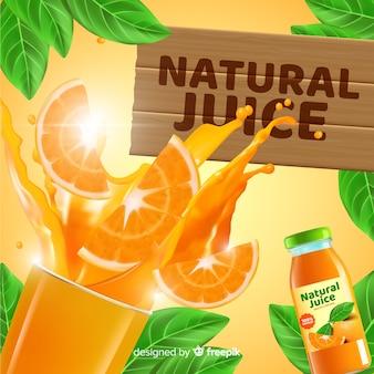 Modello di annuncio per succo naturale