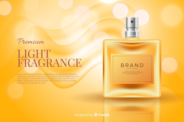 Modello di annuncio realistico bottiglia di profumo