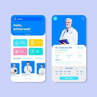Modello di app di prenotazione medica con foto