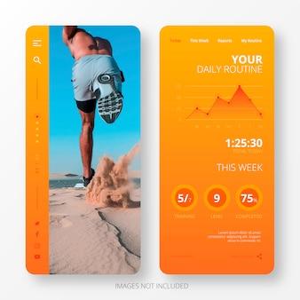 Modello di app di routine quotidiana per schermo mobile