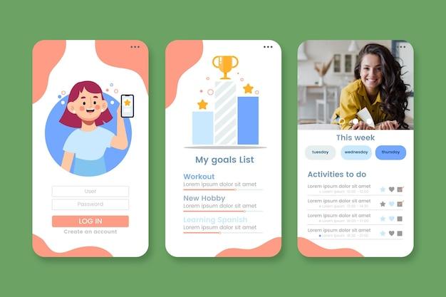 Modello di app per il monitoraggio di obiettivi e abitudini